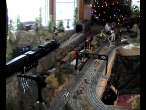 O scale. MTH and Lionel Train Layout. using Woodland Scenics