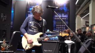 Thomas Blug at the Musikmesse April 2013 : Strat close up & Hughes and Kettner : tonymckenzie.com