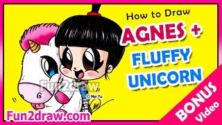How to Draw a Fluffy Unicorn + Agnes from Despicable Me