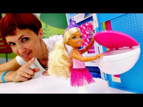 Распаковка домика Барби и Челси - Видео для девочек с куклами.