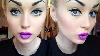 Big Anime Eyes & Purple Ombre Lips ?