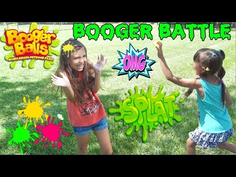 BOOGER BALLS BATTLE - Slime Toy for Kids Booger Balls - Slimy, Gross Outdoor Play! Boogers DIY