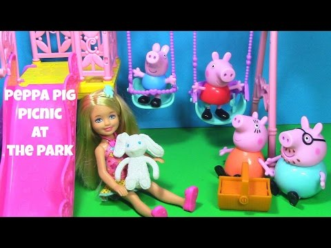 Peppa Pig Picnic at the Park with Barbie Sister Chelsea Swingset