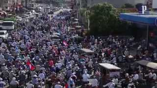 CNRP march through the streets