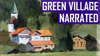 Green Background Village | Watercolor (Narrated)