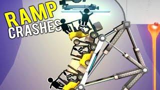 VEHICLES CRASH WHILE ATTEMPTING EPIC RAMP LONG JUMP! - Bridge Constructor Portal Gameplay