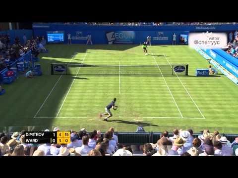 2014 Queen's Club 1r Grigor Dimitrov Vs James Ward (maria Sharapova In Crowd) Highlights + Interview video