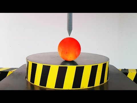 EXPERIMENT HYDRAULIC Guillotine 100 TON vs 1000 Degree METAL BALL