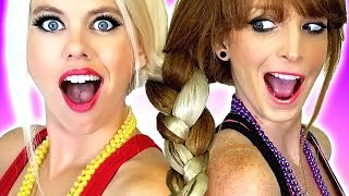 Hair Challenge!!! Sisters Make One Braid! Plus DIY Beauty  & Makeup Hacks and Tips!