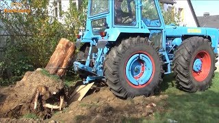 Tractor And Trucks Vs Tree Stumps, It's Too Dangerous