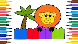 Learn Colors For Kids With Lion Palm Draw And Coloring Page For Baby Toddlers