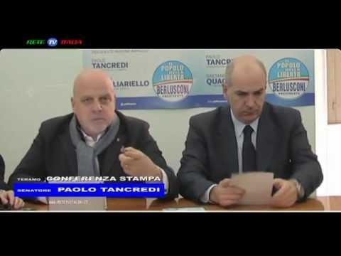 Il Senatore Paolo Tancredi del PDL candidato alla Camera in conferenza stampa a Teramo.