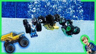 Monster Trucks Hot Wheels Toys for Kids in the Swimming Pool!