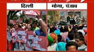 Congress and AAP protests against Badal; demands service to shut down