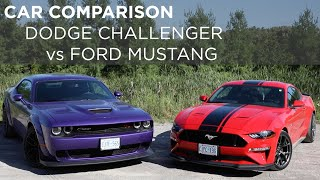 Ford Mustang GT vs Dodge Challenger Scat Pack | Car Comparison | Driving.ca