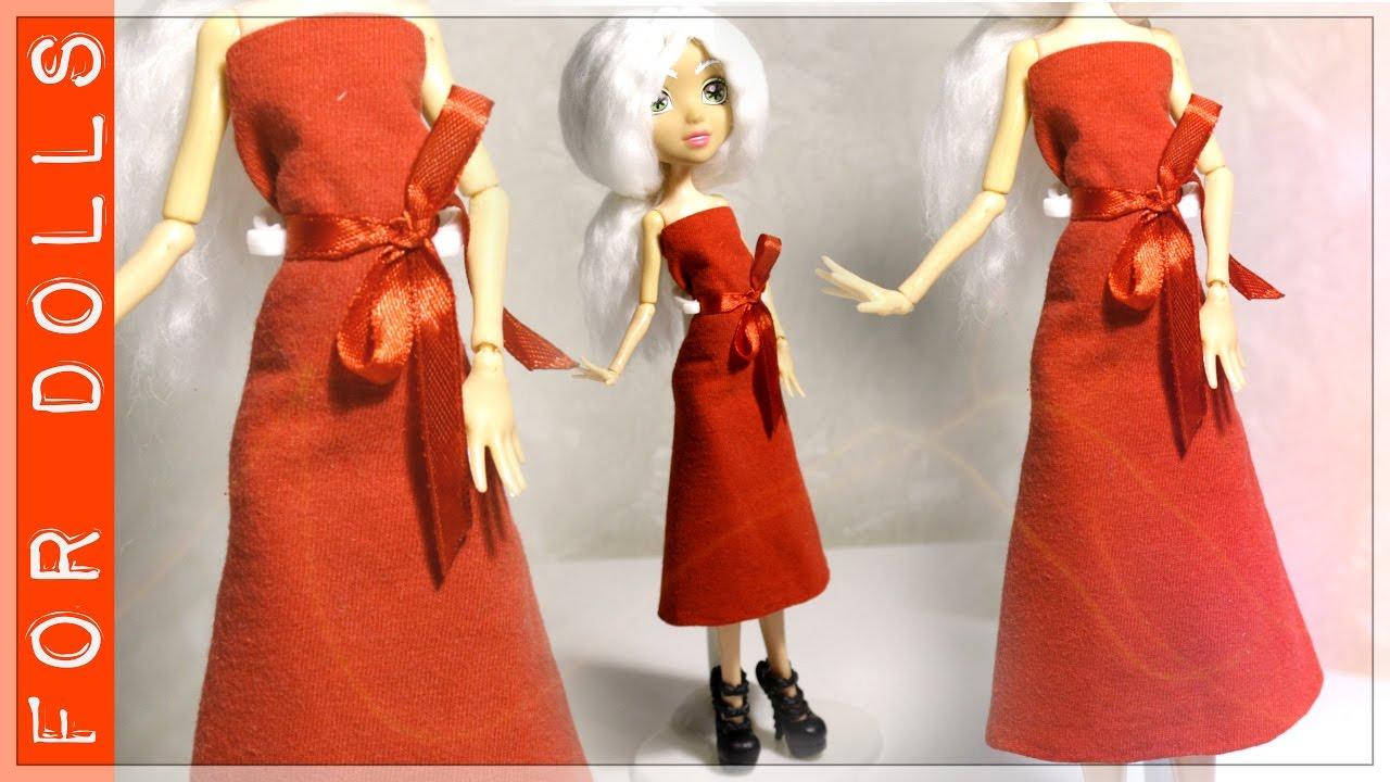 Как из ткани сделать платье для куклы своими руками из ткани 22