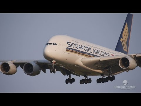 Beautiful Landing Singapore Airlines A380 (9V-SKK) @NRT 成田空港