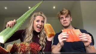 I TRIED ASMR... Eating raw honeycomb, Aloe Vera, salmon, etc...(WITH BOYFRIEND)