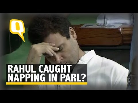 The Quint: Spotted: Rahul Gandhi in Parliament; Deep Thought or Deep Sleep?