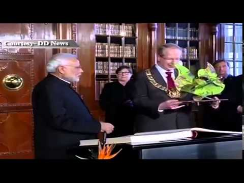 PM Shri Narendra Modi in Germany Signs Golden Book at the City Hall, Hannover