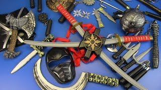 Toys NINJA Weapons Toys for Kids !. Ninja Guns & Equipment- Swords,Shuriken,Nunchucks..Box of Toys