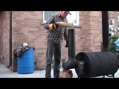 Pauls Mass Rocket Heater Stove wood furnace 55 gal barrel drum 00467 Video 1