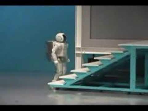 Honda's Asimo Robot buckling on the stairs