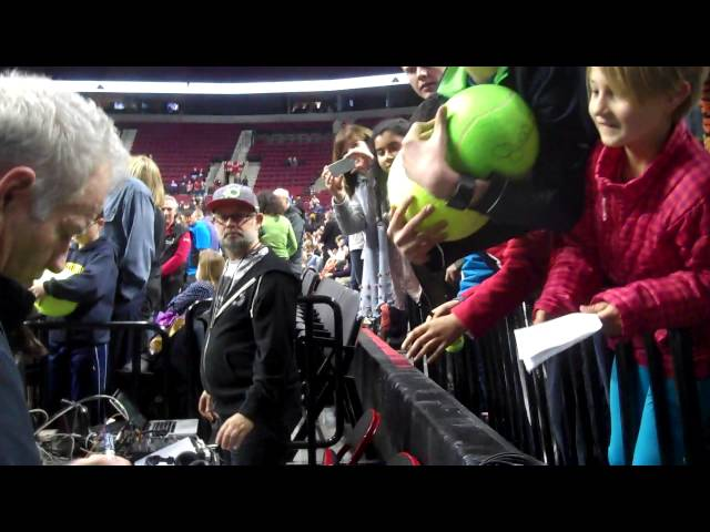 John McEnroe signs autographs in Portland at PowerShares Series tennis