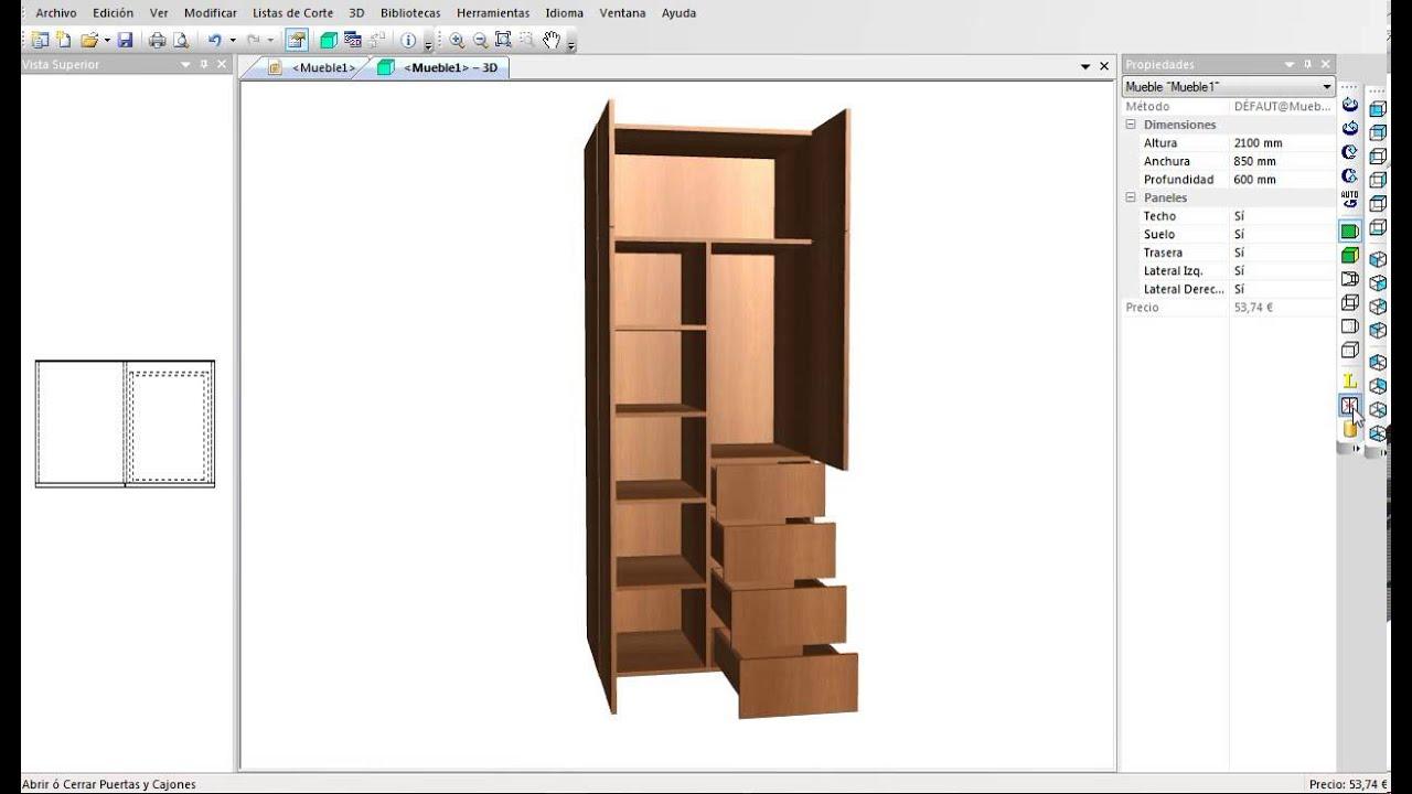 Programa para dise ar muebles armarios cocinas etc for Programa para crear muebles de melamina