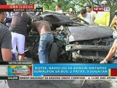Kotse, nahulog sa bangin sa Ilocos Sur matapos sumalpok sa bus; 2 patay, 5 sugatan