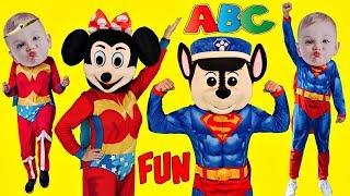 ABC Song Superhero Baby Alphabet MASHUP Sing Along Songs for Kids Schoolhouse Nursery Rhymes