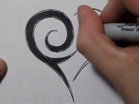 How To Draw a Tribal Heart - Free Tattoo Designs at SuperTribalTattoos.com