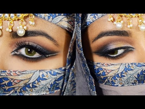 Eid Makeup Tutorial : Dramatic Blue And Gold Smokey Eyes + How To Draw Arabic Eyeliner -GRWM