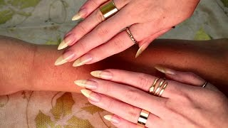 ASMR #084 - Aggressive fast arm scratching with long sharp bare nails and gold rings!