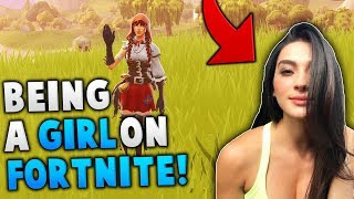 Pretending to be a GIRL on Fortnite! *HILARIOUS REACTION*