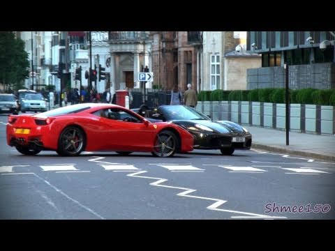 Flirty Ferraris - F430 and 458 chasing around!