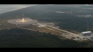 A final look at SpaceX Falcon 9 landing today - drone camera / onboard camera