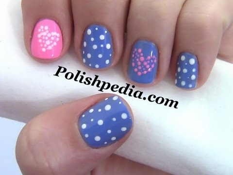 Polka Dot Hearts Valentines Day Nail Art