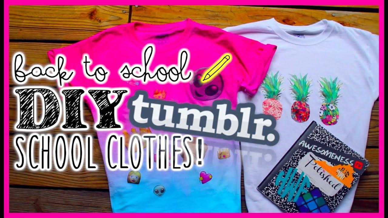 Back to School DIY Ideas: Tumblr inspired shirts - YouTube