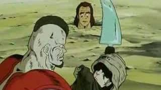 Kenshiro sawing through some guy's head