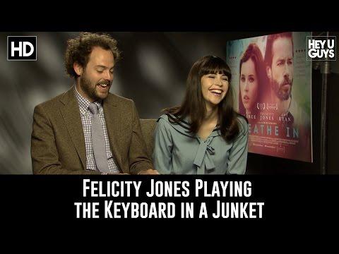 Felicity Jones Plays Keyboard during Interview