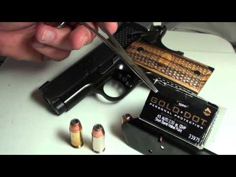Speer 45 acp 230gr  Gold Dot Short Barrel ballistic gel test