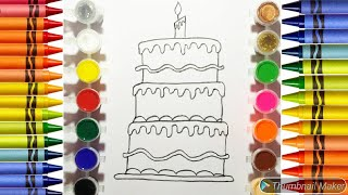 Drawing and coloring birthday cake and car for kids! Learning Colors educational videos