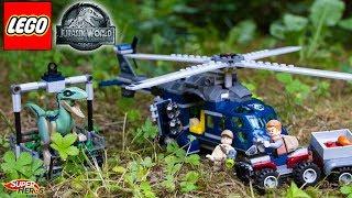 Histoire Lego Jurassic World Poursuite de Blue en Hélicoptère Jouet Toy Review Kids Dinosaure 75928