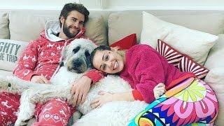 Miley Cyrus and Liam Hemsworth Share Holiday Smooch Pose With Their Adorable Dog -- See the Pics!