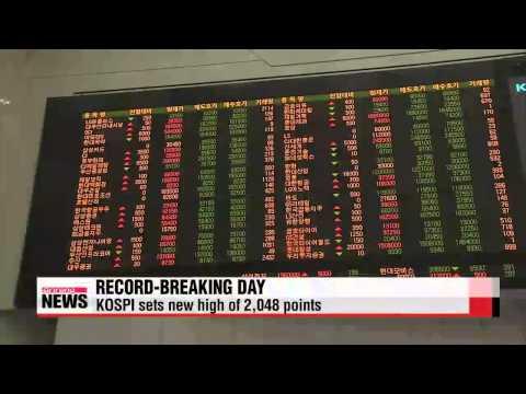 Korean shares break record high