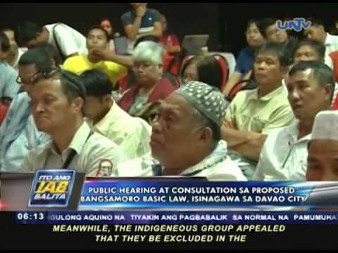 Public hearing at consultation sa proposed Bangsamoro Basic Law, isinagawa sa Davao City