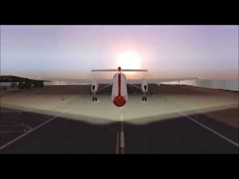 BOMBARDIER DASH8 Q400 SPICEJET TAKE OFF FROM PONTA DELGADA DURING SUNRISE
