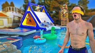 Surprised little brother with BACKYARD WATER PARK! *huge slide*