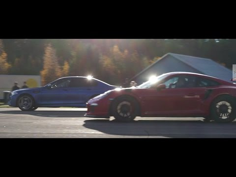 Porsche 911 GT3 RS PDK vs BMW M5 F10 ESS ECU, Supersprint downpipes and Acrapovic Evolution exhaust
